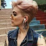 2020 En Şık Pixie Kısa Saç Kesim Modelleri Platin Sarışın Dağınık Pixie
