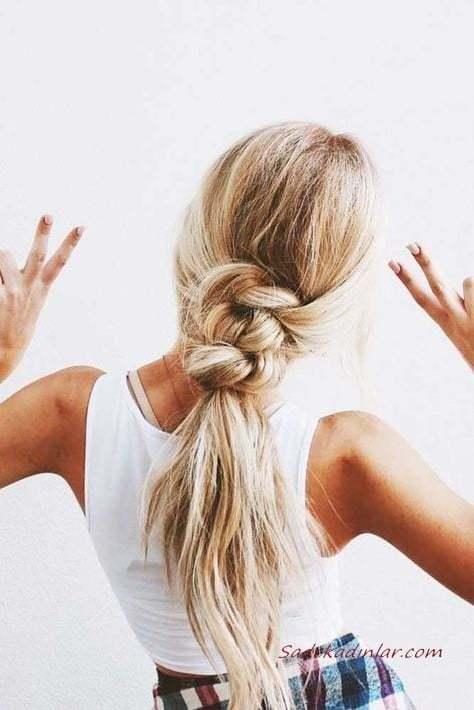 2020 Günlük Şık Kolay Saç Modelleri Sarı Uzun Örgülü Düşük At Kuyruğu