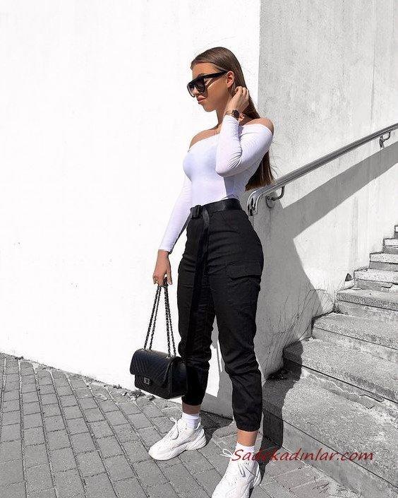 2020 Kargo Pantolon Modelleri İle Günlük Kombinler Siyah Pantolon Beyaz Omzu Açık Uzun Kollu Bluz Spor Ayakkabı