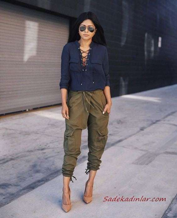 2020 Kargo Pantolon Modelleri İle Günlük Kombinler Yeşil Cepli Pantolon Lacivert Bağcıklı Bluz Vizon Stiletto Ayakkabı