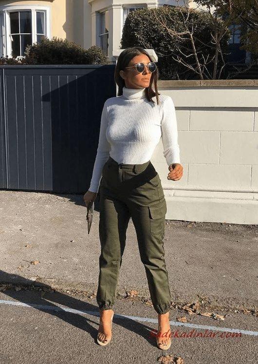 2020 Kargo Pantolon Modelleri İle Günlük Kombinler Yeşil Pantolon Beyaz Boğazlı Kazak Şeffaf Stiletto Ayakkabı