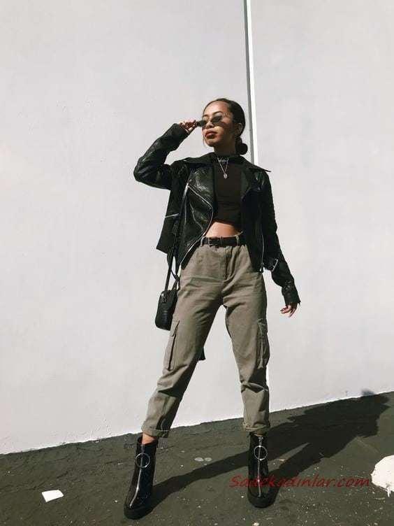 2020 Kargo Pantolon Modelleri İle Günlük Kombinler Yeşil Pantolon Siyah Büstiyer Deri Ceket Topuklu Kısa Bot