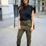 2020 Kargo Pantolon Modelleri İle Günlük Kombinler Yeşil Pantolon Siyah Japone Kol Gömlek Bordo Stiletto Ayakkabı