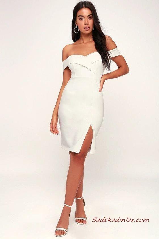 Yaz Davetleri İçin Çarpıcı ve Şık 2020 Abiye Elbise Modelleri Beyaz Mini Omzu Açık Yırtmaçlı Sade