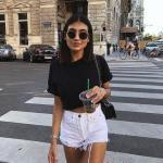 İlkbahar Yaz İçin En Şık 2020 Crop Top Bluz Kombinleri Beyaz Şort Siyah Kısa Kollu Crop Top Bluz