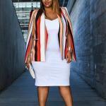 2021 Büyük Beden Günlük İş Kıyafet Kombinleri Beyaz Midi Askılı Elbise Turuncu Çizgili Blazer Ceket Kırmızı Stiletto Ayakkabı