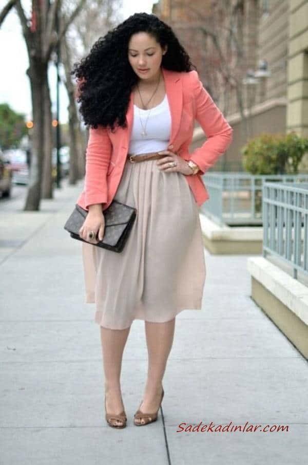 2021 Büyük Beden Günlük İş Kıyafet Kombinleri Krem Midi Etek Beyaz Bluz Yavruağzı Ceket Kahverengi Stiletto Ayakkabı