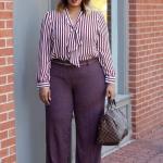 2021 Büyük Beden Günlük İş Kıyafet Kombinleri Mor Bol Kesim Pantolon Çizgili V Yakalı Gömlek