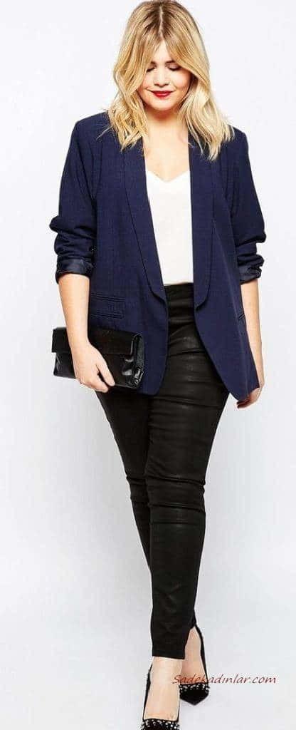 2021 Büyük Beden Günlük İş Kıyafet Kombinleri Siyah Deri Pantolon Beyaz Bluz Lacivert Blazer Ceket Siyah Stiletto Ayakkabı