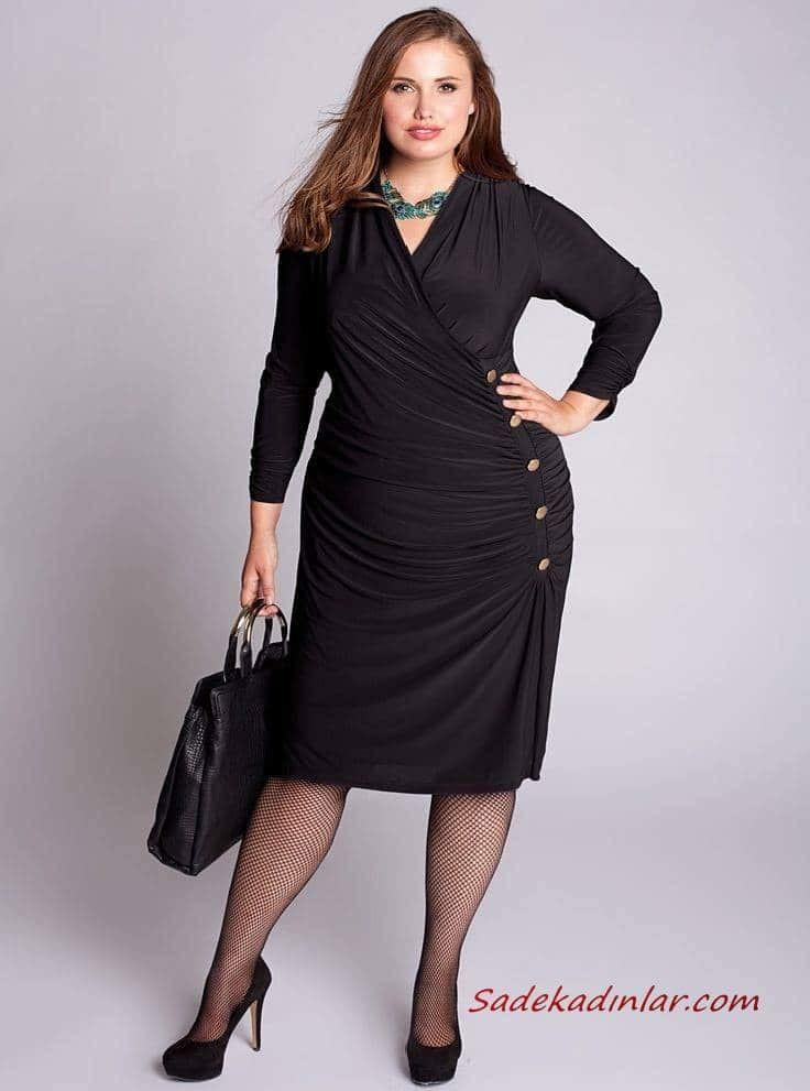 2021 Büyük Beden Günlük İş Kıyafet Kombinleri Siyah Midi Uzun Kollu V Yakalı Düğmeli Elbise Stiletto Ayakkabı