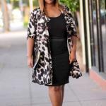 2021 Büyük Beden Günlük İş Kıyafet Kombinleri Siyah Mini Elbise Kahverengi Desenli Uzun Ceket