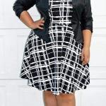 2021 Büyük Beden Günlük İş Kıyafet Kombinleri Siyah Mini Çizgi Desenli Elbise Blazer Ceket Yeşi Stiletto Ayakkabı