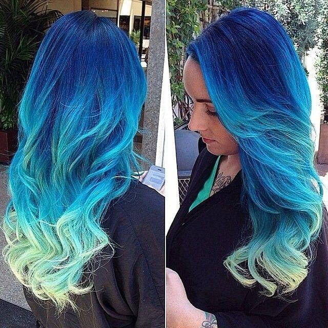 2020 En Güzel Saç Renkleri ve Saç Modelleri Saks Mavi Uçları Yeşil Balyajlı Uzun Saç